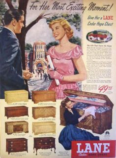 1949 LANE CEDAR HOPE CHEST   GRADUATION SPECIAL   Eight Models Print