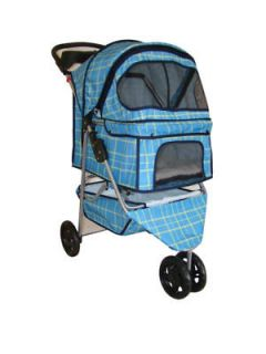 Blue Grid 3 Wheels Pet Dog Cat Stroller w/RainCover
