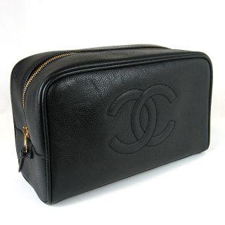 Authentic CHANEL CoCo Mark Caviar Skin Pouch Bag Black #6643