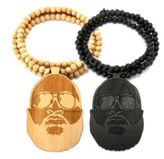 Wood RICK ROSS Face Inspired PENDANT NECKLACE 36 Wooden BALL CHAIN