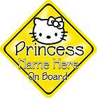Hello Kitty Princess Personalised Baby On Board Car Sign New Bright