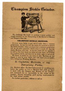 0061 Champion sickle grinder flier c 1890 horse drawn farm machinery