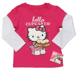 HELLO KITTY Toddler Girls Pink/White Mock Layer Cupcakes Tee Shirt NWT