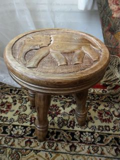 ELEPHANT INDIAN WOOD WOODED MILKING STOOL PLANT STAND TABLE SEAT