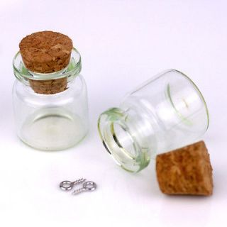 Small Glass Bottle Vial Charms Pendant with Cork and Eyehook 22x25mm