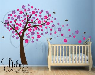 TREE WITH BLOWING BLOSSOM WALL ART STICKER DECAL BABY NURSERY