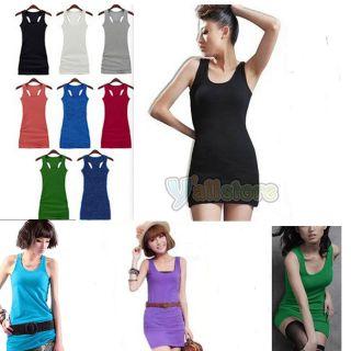 Summer Candy Lady Sleeveless Long Tank Vest Shirt Tops Mini Dress Sexy