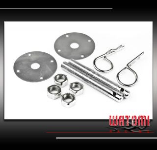 UNIVERSAL HOOD PINS LOCK KIT JDM SILVER LINCOLN MINI COOPER PLYMOUTH