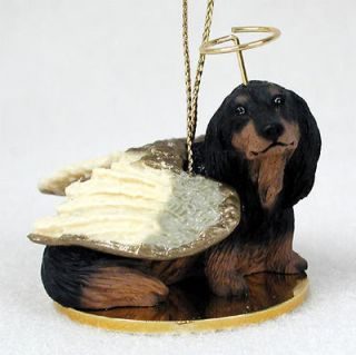 Dachshund Dog Figurine Angel Statue Hand Painted Black Longhair