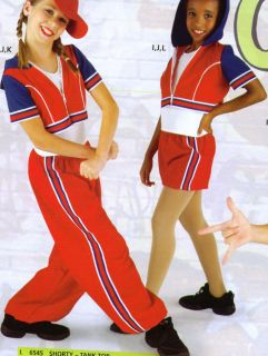NEW HIP HOP DANCE SEPARATES RED/WHITE/BLUE Child Szs