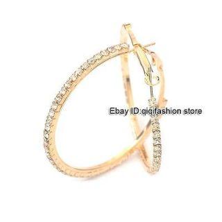 Gold Plate Circle Loop Swarovski Crystal GP Hoop Earrings fashion Gift