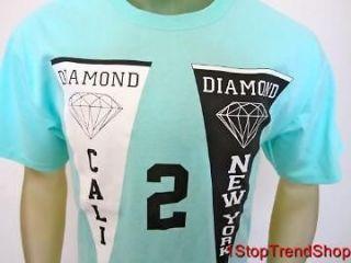 NWT Diamond Supply Co teal NY/Cali mens s/s shirt size small skate $