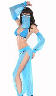 Sexy Blue Belly Dancer Arabian Princess Jasmine Halloween Costume 6 8
