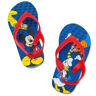 NWT  MICKEY Mouse Flip Flop Toddler Boys 11/12 Red Blue