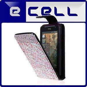 BABY PINK ZEBRA LEATHER BLING FLIP CASE FOR HTC RHYME