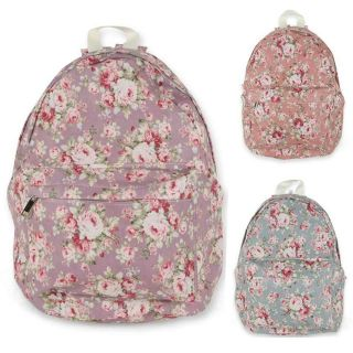 Womens Rose Floral print Backpack Girls School Bags Campus Bookbags