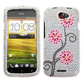 For T Mobile HTC One S Case Cover Bling Rhinestones Moon Flowers