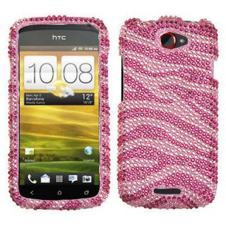 For T Mobile HTC One S Case Cover Bling Rhinestones Zebra Skin Hot