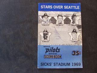 1969 Seattle Pilots Official Scorebook vs.Minnesota Twins, Sicks