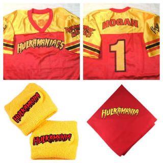 Hulk Hogan Costume Jersey Shirt bandana Hulkamania wristbands New