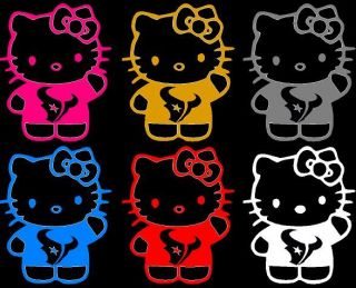 TEXANS CAR DECAL PICK COLOR/SIZE NFL DECAL HELLO KITTY DECAL TEXANS