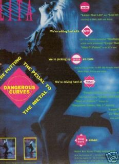 LITA FORD Cuvaceous 1991 PROMO POSTER AD w/ TOUR DATES