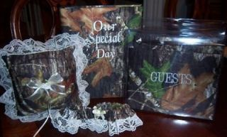 camo wedding set w/guestbook, photo album, garter, pillow w/ivory lace