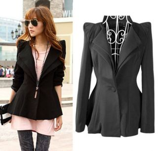 Women Punk Rock Suits Blazer Jackets Coats Outerwear Power Shoulder