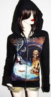 Iron Maiden Metal Punk rock DIY Slim Fit Hoodie Jacket Top Shirt
