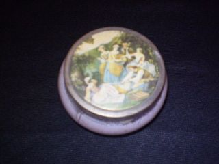 Vintage Powder Jar Glass with Metal Lid Victorian Cold Cream