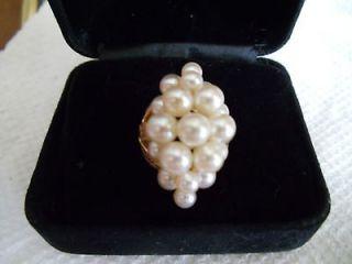 Vintage Cultured Pearl Cluster Ring, 14 Kt Gold