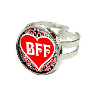 Friends Forever   Red Heart   Silver Plated Adjustable Novelty Ring