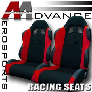 /Red Fabric & PVC Leather Racing Seats+Sliders Pair 33 (Fits Jaguar
