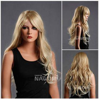Female Glamorous Gold Long Wave Wig Mannequin Head Hair #WG ZL174