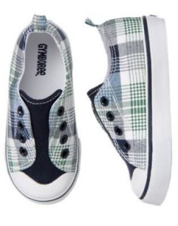 Spring Social Golf Pro Blue/Green Plaid Slip on Shoes NWT Youth 13 1