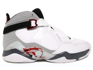 Air Jordan 8.0 Mens White/Grey/Red Splatter High Top Basketball Shoes