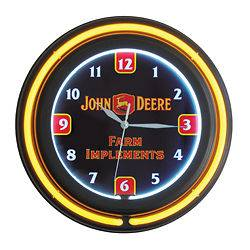 John Deere Double Neon Farm Implements Clock
