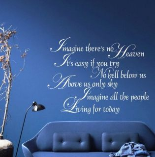 JOHN LENNON IMAGINE THERES NO HEAVEN QUOTE WALL ART STICKER LYRICS