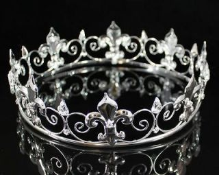 CROWN AUSTRIAN RHINESTONE CRYSTAL BRIDAL PAGEANT FLEUR DE LIS T1298S