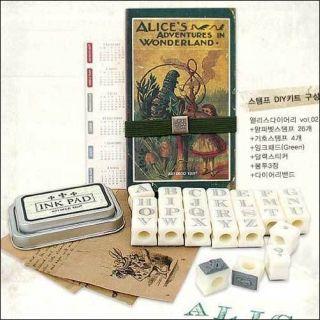 Alices in Wonderland Journal Weekly Planner + Stamp Kit + Ink Pad