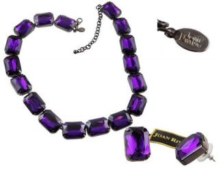 Joan Rivers Royal Purple Faux Amethyst Crystal Necklace & Earring Set