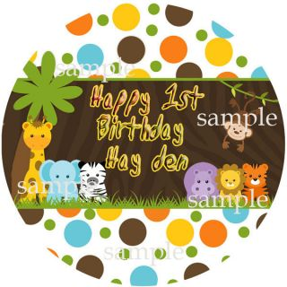 JUNGLE SAFARI FRIENDS Round Edible CAKE Decoration Image Icing Topper