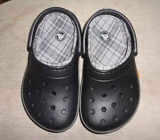 Boys Girls Cobbler Lined Black Plaid Slip On Crocs Shoes Size 1 GIFT