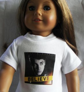 JUSTIN BIEBER BELIEVE T Shirt for American Girl 18 doll