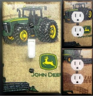 John Deere light switch outlet covers wall plate kid room decor custom