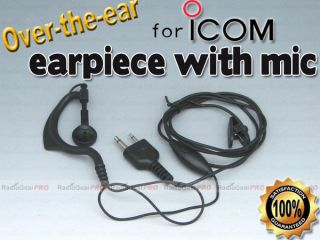 PTT Over the ear earpiece mic Icom Alinco Ham radio