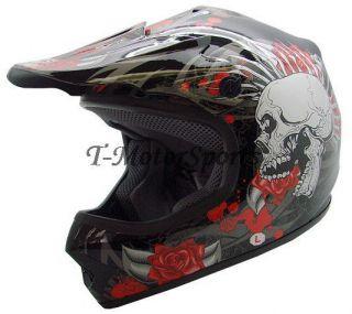 YOUTH BLACK ROSE SKULL DIRT BIKE ATV OFF ROAD MOTOCROSS HELMET MX~S,M
