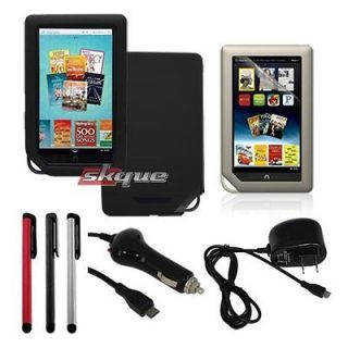 Newly listed Black Skin Case+Car Wall Charger+Film Protector+3X Stylus