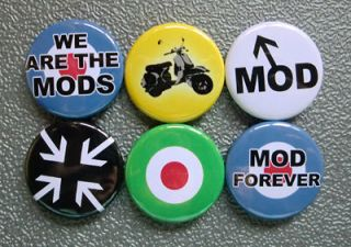 MOD RETRO SIXTIES BADGES PINS BUTTONS (1inch/25mm) 1960s FASHION