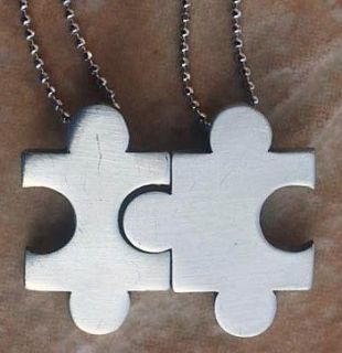 Pewter Sister Mother Daughter Family Friendship Jigsaw Necklace
